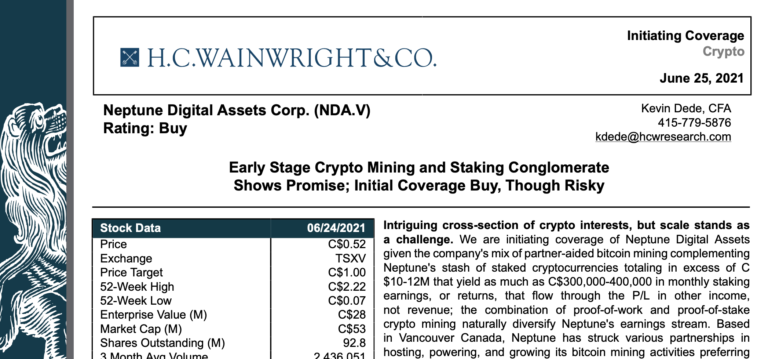H.C. Wainwright & Co. Analyst Report on Neptune Digital Assets